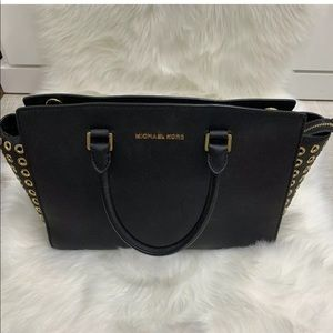Michael kore handbag black leather with gold studs